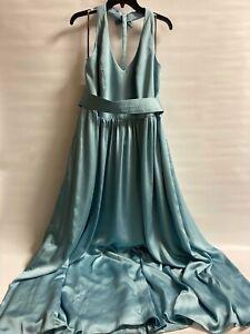 WHITE By Vera Wang Mist Blue Bridesmaid Dress Leg Slit Halter Top Size 16