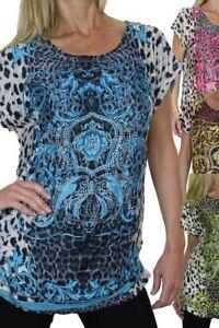 Womens Diamante Animal Print Tunic Top Ladies Short Sleeve Casual T Shirt 8-16