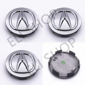 4 PCS OEM Acura ILX MDX RDX RL RLX TL TSX ZDX 2005-2017 Silver Center Cap