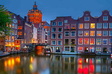 STUNNING AMSTERDAM CITYSCAPE CANVAS #408 QUALITY AMSTERDAM CITY CANVAS PICTURE