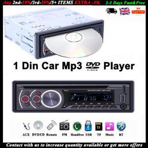 Single 1 Din Car DVD CD MP3 Player Radio USB/AUX/TF Bluetooth Stereo In-dash FM