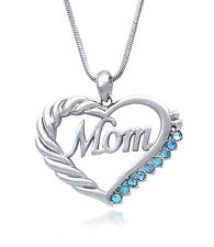 Heart MOM Necklace Mothers Day Birthday Gift for Wife MOM Crystal GIFT BOX