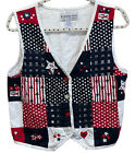 Bedford Fair Lifestyles Patriotic Vest Womens Size Medium