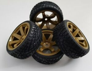 1/10 RC Car on road/rally/touring Gold Wheels & Tyres x4 block tread