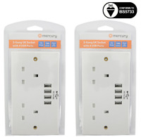 2 x UK 2 Gang Electric Wall Socket Faceplate with 4 USB Outlets 4.8A