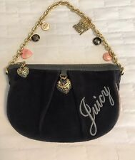 Juicy Couture Women's 8 Charms Gold Chain Blue Velour Wristlet  Purse New $129