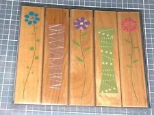 TALL FLOWERS and Vases Daisy Hero Arts Wood Mounted Rubber Stamp Set of 4 New