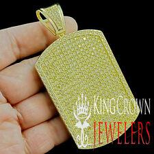 MENS BIG ICY CANARY LAB DIAMOND XL CUSTOM DOG TAG YELLOW GOLD G/P CHARM PENDANT