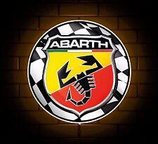 ABARTH BADGE SIGN LED LIGHT BOX MAN CAVE GARAGE WORKSHOP GAMES ROOM BOYS GIFT