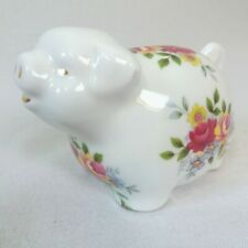 STAFFORDSHIRE Contented Pig Patterned in Flowers Fine Bone China