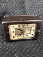 Art Deco Lackner 1930's Mottled Brown Bakelite Desk Clock For Parts Or Repair