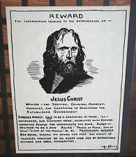 Jesus Christ Reward Poster vintage head shop pin-up Art Young 1970's comedy fun