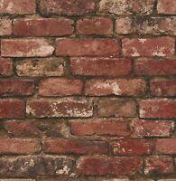 Textured Wallpaper red brown orange rustic faux brick 3D Loft