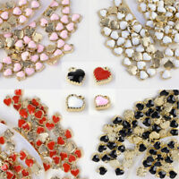 100 pcs Heart Alloy Enamel Charms For DIY Jewelry Making 8x7.5x2.5mm Hole 1.5mm