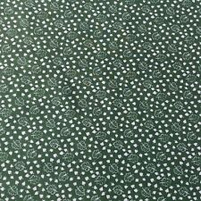 Floral Brushed Back Cotton Twill Fabric Sage Green Cream Craft Sewing NOS