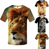 Punk Men's Funny Animal3D Print T-Shirt Summer Casual Short Sleeve Top Basic Tee