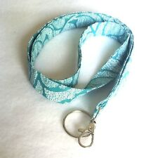 "Fabric Lanyard ID Badge Key Holder 40"" x 3/4"" Cotton Turquoise Fleur De Lis"