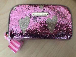 Victoria's Secret Pink Glitter Gold Heart Makeup Cosmetic Case Travel Bag Gift