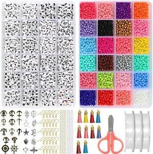 Jewelry Making Kit Beads for Bracelets, String Art Craft Sets for Necklaces Key