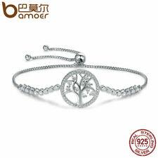 BAMOER S925 Sterling silver Women Bracelet Splendid life tree Charm & CZ Jewelry