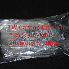 200pcs Resistor 1W Watt 20values X 10pcs Resistencias Resistor Pack Carbon Film