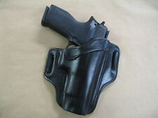 Sig Sauer P 227 .45 OWB Leather 2 Slot Molded Pancake Belt Holster CCW BLACK RH