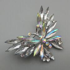 Betsey Johnson AB Clear Crystal Rhinestone Butterfly Brooch Pin