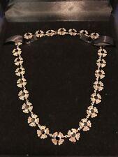 """Vintage Art Nouveau Sterling, Black Onyx and Marcasite Floral Necklace~18"""""""