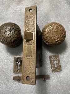 ANTIQUE LOCKWOOD VICTORIAN 2 DOOR KNOBS, 2 Rosettes, 1 Lock FLower Pot Design