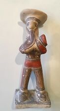 """VINTAGE MEXICAN FOLK ART POTTERY FIGURINE """"MAN PLAYING INSTRUMENT, C.1970'S"""