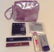 AVON MAKEUP BAG- Body oil-Gel cleanser- Powder- Eye corrector- Lip gloss- Mirror