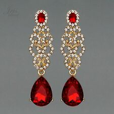 18K Gold Plated GP Red Crystal Rhinestone Wedding Drop Dangle Earrings 00556 New