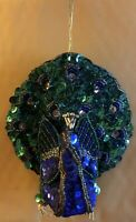 Peacock Beaded And Sequin Christmas Ornament Purple And Green