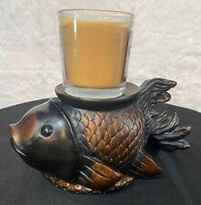 Unique Fish Pillar Candle Holder Bronze & Black-Fancy Goldfish No Candle
