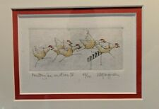 """V. M. Ferguson Etching """"Poultry in motion IV"""" signed and numbered framed"""