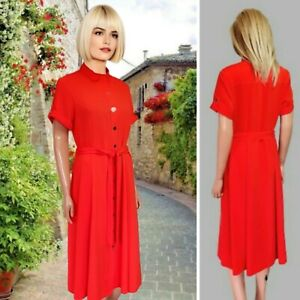 DOROTHY PERKINS DRESS UK14 RED COLLARED BUTTONED FLARED MIDI DOUBLE SLIT #53