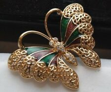 LADY REMINGTON BUTTERFLY BROOCH VERY NICE WITH RHINESTONE BODY