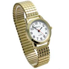Ravel Ladies Big Number Minute Rim Watch Gold Tone Stretch Patterned Bracelet
