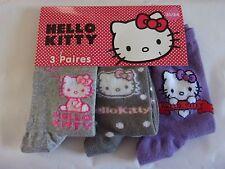Gi5035  3 paires de chaussettes fille fantaisie ** HELLO KITTY ** P 31/34 NEUF