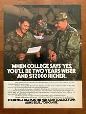 1980s US Army College Fund GI Bill Vintage Print Ad/Poster Military Patriotic
