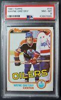 Wayne Gretzky 1981 Topps hockey card 3rd year #16 NM-MT PSA 8 Oilers HOF