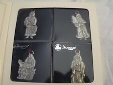 Longaberger Pewter Santa Ornaments Set of 4, 1993, Small Dent in Box