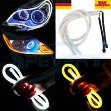 2x 60cm LED Tagfahrlicht DRL Weich Tube flexible Auto Streifen Licht Weiß+Gelb
