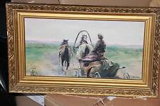 "Painting ""On horses"", the author is not known, oil, dvp"