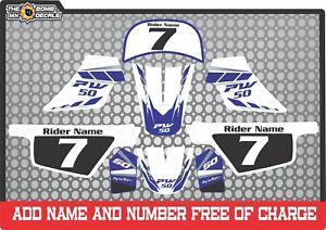 pw50 decals graphics yamaha pw 50 personal peewee laminated motocross blue set