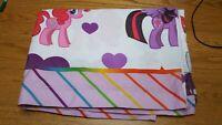 My Little Pony MLP Twin Single Flat Sheet Pink Rainbows Hearts Stars Ponies Girl