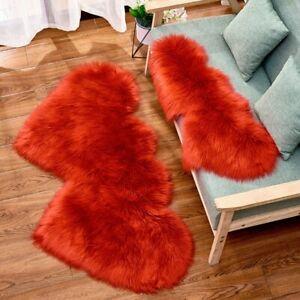 1 Stück Wohnzimmer Doppel Herz Nachahmung Wollteppich Schlafzimmer Fußpolster
