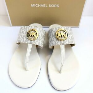 NEW Michael Kors Sandal Ireland Thong MK Logo Shoes Cream Vanilla Gold
