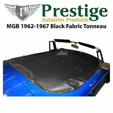 MGB Tonneau Cover Black Fabric Canvas without Headrest Pockets 1962-1967