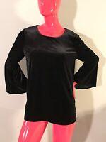 Calvin Klein Top Black velvet crew neck long bell sleeves stretching Size: M NWT